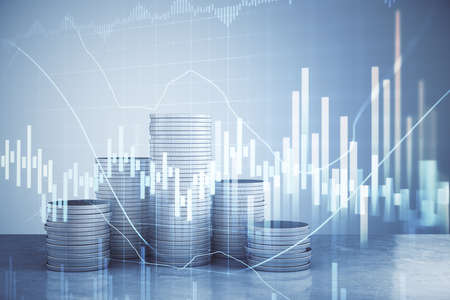 Photo pour Glowing business charts with digital interface and coin piles. Business and trade concept. 3D Rendering - image libre de droit