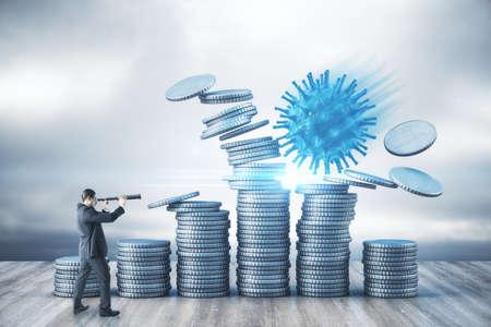 Photo pour Businessman with telescope and blue coronavirus bacillus smashes silver coins on sky background. Coronavirus and finance crisis concept. - image libre de droit