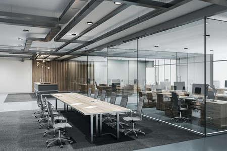 Foto de Contemporary conference loft room with reception, meeting table and glass wall. Seminar and conference concept. 3D Rendering - Imagen libre de derechos