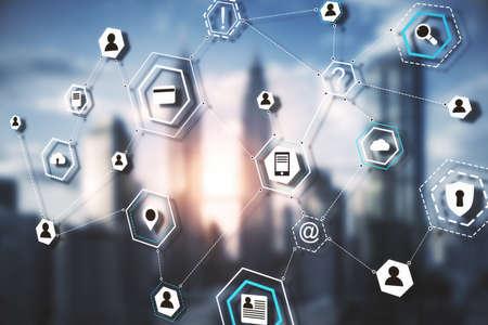 Photo pour Online computer cloud diagram on a blurry city background. Data interface and innovation concept - image libre de droit