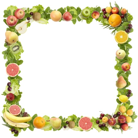 The frame made of  fruits  on a white backgroundの写真素材