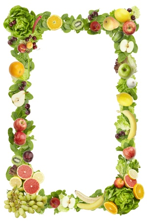 The frame made of  fruits and vegetables on a white backgroundの写真素材