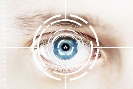 Technology scan eye for security or identification.Eye with scanner and computer interface
