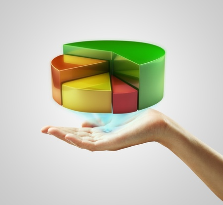 Photo for Hand presenting a pie chart button. On a gray background - Royalty Free Image