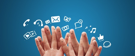 Photo for Happy group of finger smileys with social chat sign and speech bubbles,icons  Fingers representing a social network  - Royalty Free Image