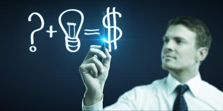 man drawing formula for making money