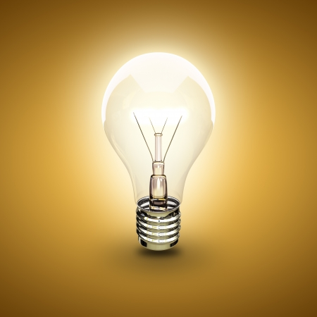 light bulb on a orange background