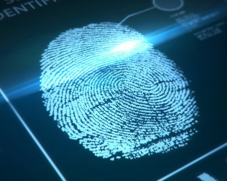 Photo for fingerprint identification on a blue background - Royalty Free Image