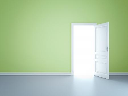 Green wall with opened door
