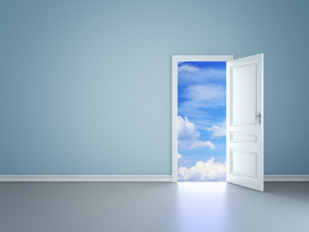 Foto de blue room with an open door in sky - Imagen libre de derechos