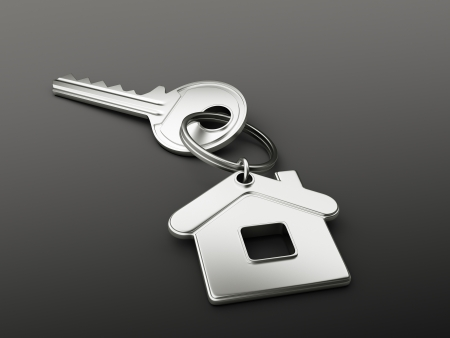 house key on black background