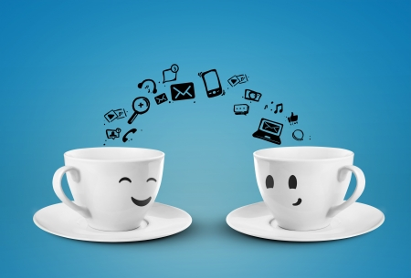 Photo for two cups social media concept  isolated - Royalty Free Image