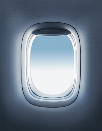 sky in the airplane porthole