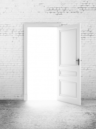 white brick room and open door  light