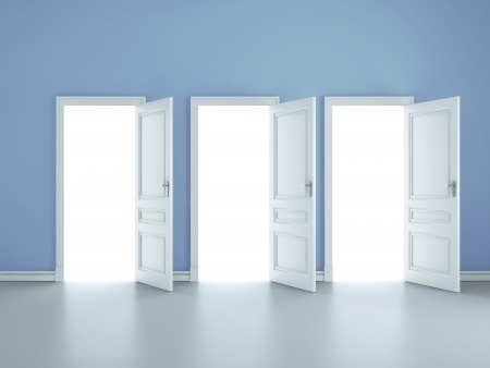three open doors in blue room