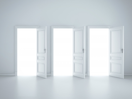 three open doors in white room