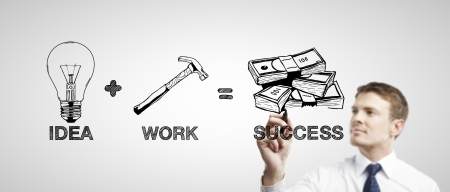 man drawing business formula success