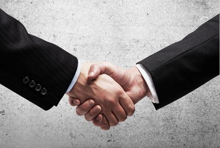 two businessmen shaking hands on background wall