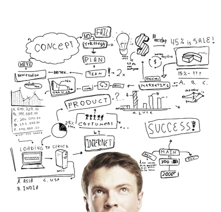pensive young man with business plan concept