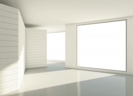 modern  light white room with window