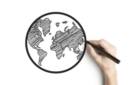hand drawing globe on a white background