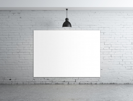 empty poster in room with ceiling lamp