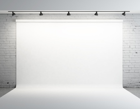 Photo for White backdrop in room with grey paint on wall - Royalty Free Image