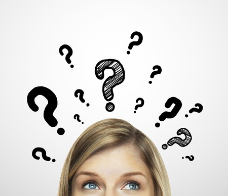 Photo pour thinking women with question mark on white background - image libre de droit