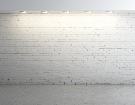 brick concrete room with ceiling lamp