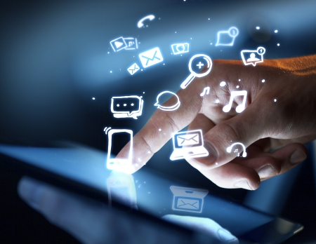 hand touching touch pad, social media concept