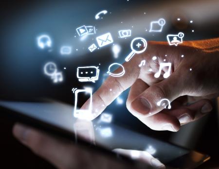 hand touching digital tablet, social media concept