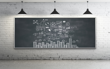 Photo for business strategy on blackboard in room - Royalty Free Image