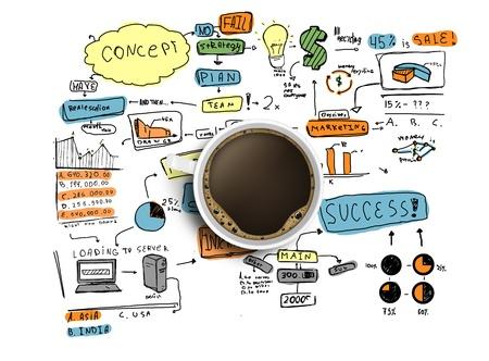 Foto de coffee cup and colorized business strategy on a white background - Imagen libre de derechos