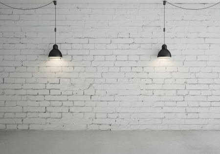 White Brick Wall With Two Black Lamps
