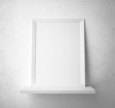 blank paper frame on the shelf