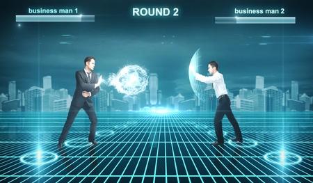 Battle of businessman in cyberspace