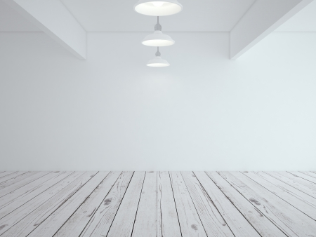 white loft room and wood floor
