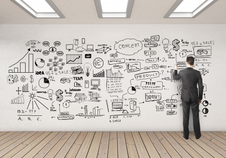 businssman drawing business concept on white wall