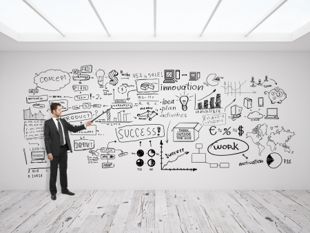 businssman pointing at business concept on white wall