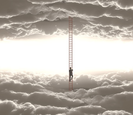 businessman climbing o ledder from cloud to cloud