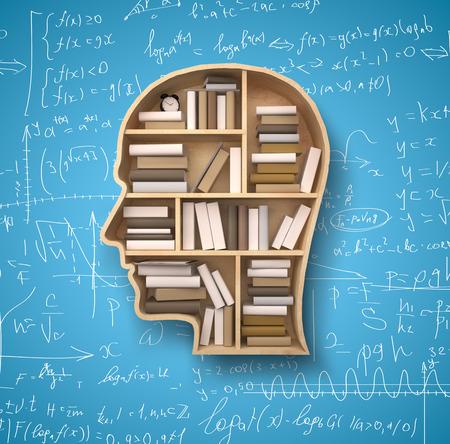 Photo pour shelf in form of head and books on formulas backgrounds - image libre de droit