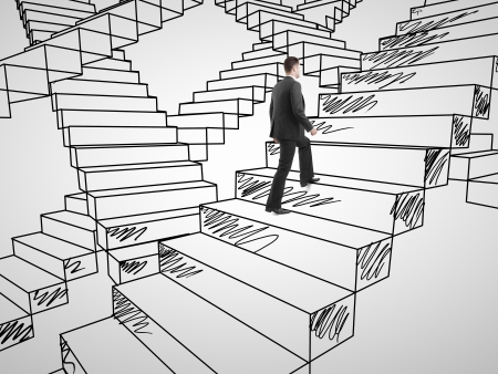 businessman climbing on drawing stairs