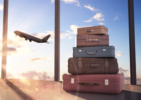 Photo pour travel bags and airplane in sky - image libre de droit