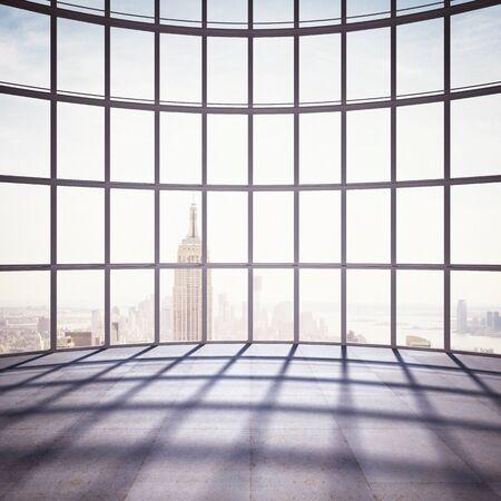 big room with big window to city
