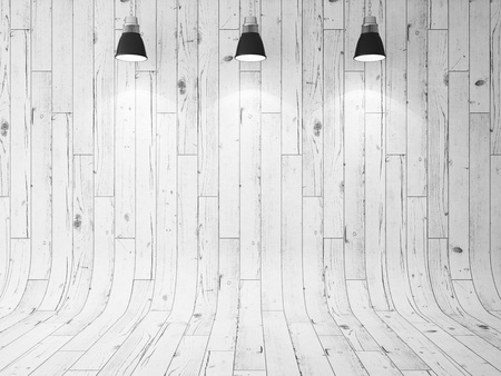 Photo pour wooden wall and three ceiling lamps. 3d render - image libre de droit