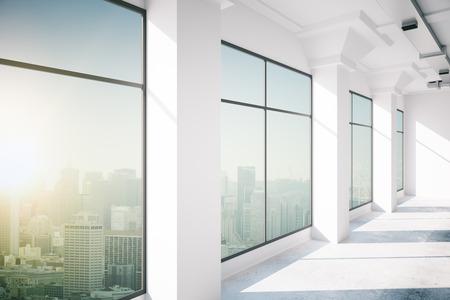 Photo pour empty office interior with window, 3d rendering - image libre de droit