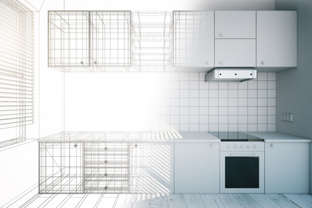 Photo pour Design of new white kitchen interior with blueprint, 3D Render - image libre de droit