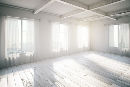 Photo pour Blank bright loft interior with windows and sunlight, 3d render - image libre de droit