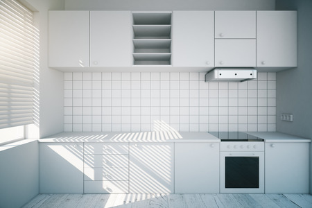 Photo for Modern design of a white kitchen interior. 3D Render - Royalty Free Image