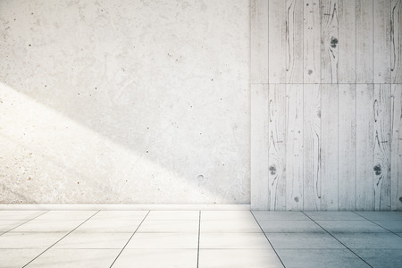 Photo for White, partially concrete and wooden empty wall interior with tile floor. Mock up, 3D Render - Royalty Free Image